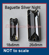 RG Baguette Sew On Silver Night