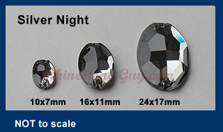 RG Premium Oval Sew On Jewels Silver Night