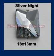 Rg Rectangle Sew On Silver Night