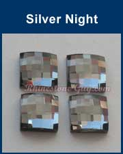 Chessboard Square Flat Back Silver Night
