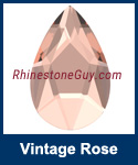 Swarovski 2303 Vintage Rose Pear Jewel Cut