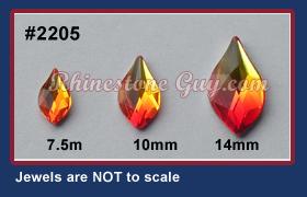 61d896c7c27176 Swarovski 2205 Flame Flat Back Rhinestone Shape