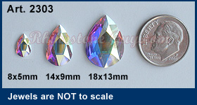 Swarovski 2303 Pear Sizes