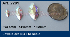 Swarovski 2201 Marquise Navette Sizes