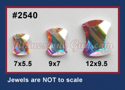 Swarovski Curvey 2540 Crystal AB sizes