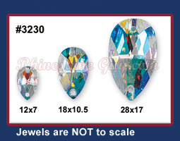 Swarovski 3230 Pear sew on sizes