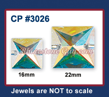 Czech Preciosa Sew On Square Crystal AB Sizes