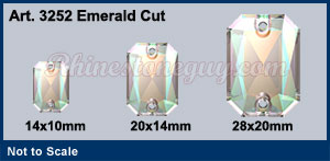 Swarovski Emerald Cut Art 3252 Sizes