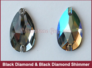 Swarovski Sew On Pear Black Diamond Shimmer