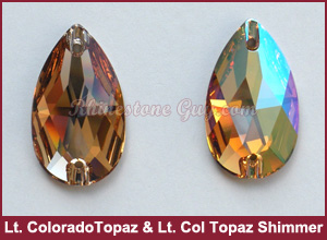 Swarovski 3230 Sew On Pear Light Colorado Topaz Shimmer