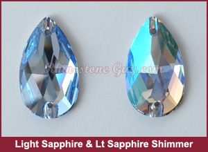 Swarovski 3230 Light Sapphire Shimmer Sew On Pear