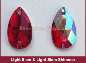 Swarovski 3230 Sew On Pear Light Siam Shimmer