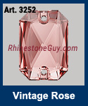 Swarovski Emerald cut Art 3252 Vingate Rose