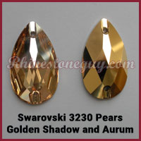 Swarovski Sew On Pear Golden Shadow Aurum Gold