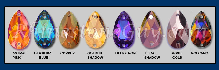 Swarovski Astral Pink Pear, Heliotrope Pear, Copper Pear, Golden Shadow Pear, Volcano Pear