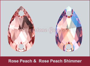 Rose Peach and Rose Peach Shimmer Sew On Pears