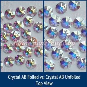 swarovski 2088 crystal ab foiled and unfoiled comparison photo