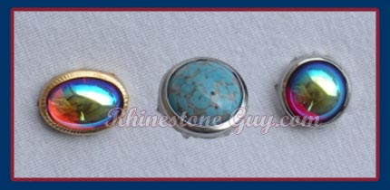 Czech Glass Cabochons set in rims