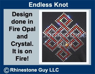 Crystal and Fire Opal Rhinestone Transfer Endless Knot