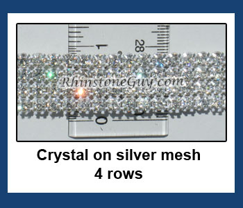 4 Rows of Crystal Rhinestone Mesh