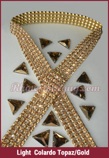 Rhinestone Mesh Banding Light Colorado Topaz
