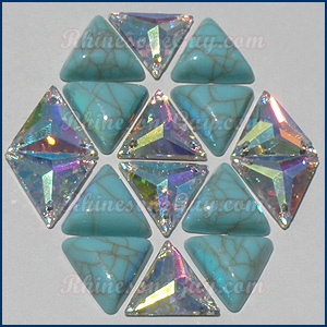 RG turquoise triangle cabochon with sew on triangles