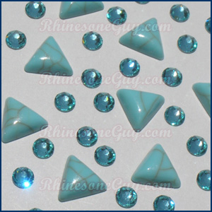 turquoise triangle cabochons with rhinestones