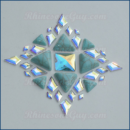 Swarovski Geometric Shapes with RG Flat Back Turquoise