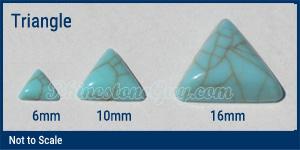RG turquoise triangle sizes